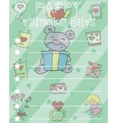 Happy valentine card with bear flower heart vector