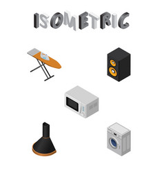isometric appliance set of cloth iron air vector image vector image