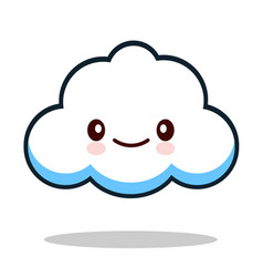 kawaii cartoon white emoticon cute cloud vector image vector image