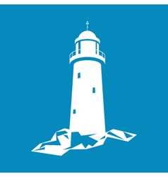 Lighthouse isolated on blue vector