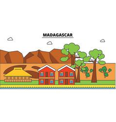 madagascar outline city skyline linear vector image vector image