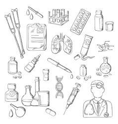 Medicines medical laboratory equipments sketches vector