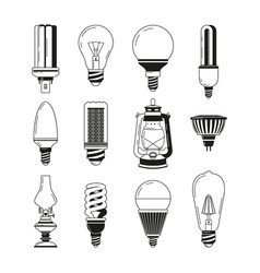 monochrome symbols of light different bulbs in vector image