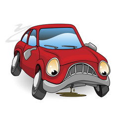 sad broken down cartoon car vector image