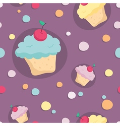Seamless pattern with cupcakes and circles on vector image