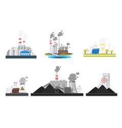 set of industrial plants vector image