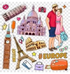 Travel Pop Art Patches Set vector image vector image