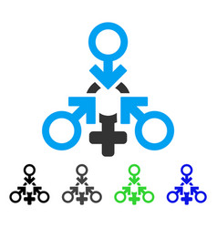 Triple penetration sex flat icon vector