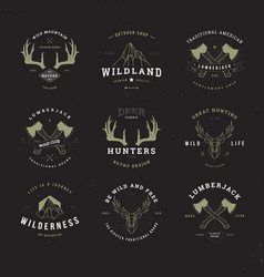 wildlife hunters logo set invert vector image
