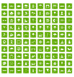 100 scenery icons set grunge green vector image vector image