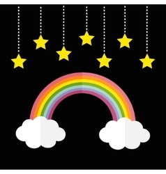 Rainbow and two white clouds yellow stars hanging vector