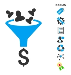 Sales funnel flat icon with bonus vector