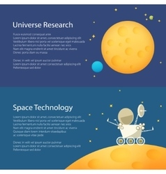 Space moon horizontal banners vector