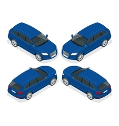 Hatchback car Flat 3d isometric vector image