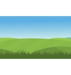 Green hill scenery vector