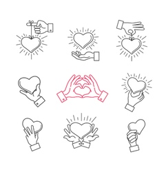 Lined hand love signs hands making heart shape vector image