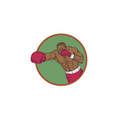 African-american boxer right hook circle drawing vector