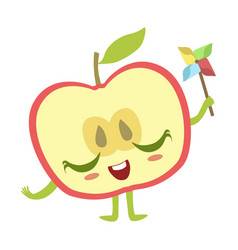 Half of apple with windmill toy cute anime vector