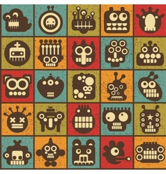 Robot and monsters cell seamless background vector