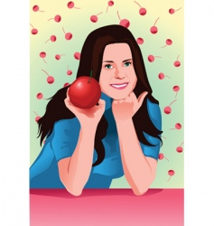 cherry girl vector image