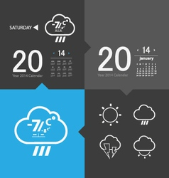 Weather icons and calendar vector