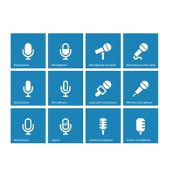 Microphone icons on blue background vector