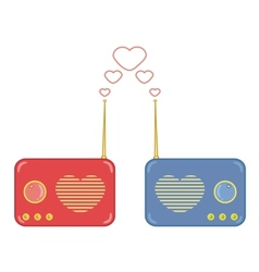 Pretty pink and blue radio with heart vector