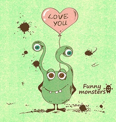 Monster holding a heart shape balloon vector