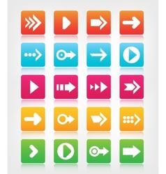 Set of arrow navigation colorful buttons vector