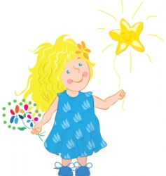 little girl holding a star vector image
