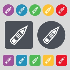 Pencil icon sign a set of 12 colored buttons flat vector
