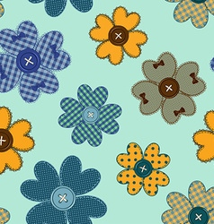 Seamless pattern of flower patchworks and buttons vector