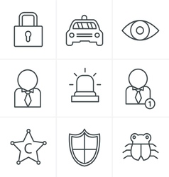 Line Icons Style Security icon set on white backgr vector image