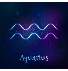 Blue shining cosmic neon zodiac aquarius symbol vector
