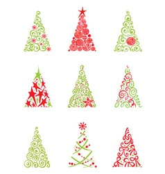 set of modern christmas trees vector image