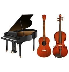 Musical instruments with piano and guitar vector