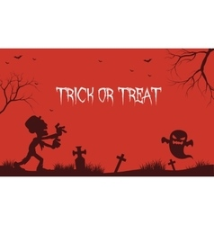 Halloween zombie and ghost red backgrounds vector