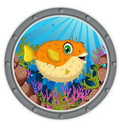 Cute blow fish cartoon vector
