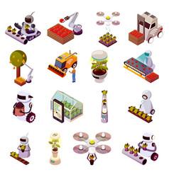 Agricultural robots icon set vector
