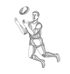Aussie rules football player jumping doodle vector