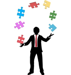 Business man juggling puzzle pieces problems vector image vector image