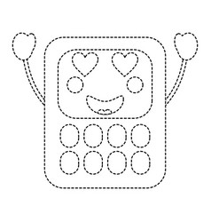 Calculator heart eyes school supplies kawaii ic vector