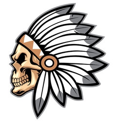 Cartoon of indian chief skull vector