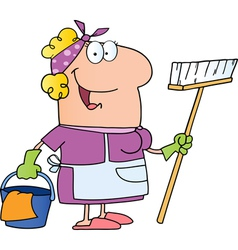 Cleaning lady cartoon character vector