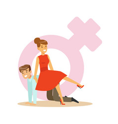Confident woman in a red dress riding on a man vector