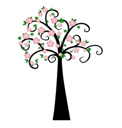Decorative spring tree silhouette with green leave vector