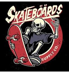 dirty textured of skull skateboarding badge vector image vector image