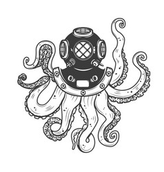 Diver helmet with octopus tentacles isolated on vector