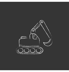 Excavator drawn in chalk icon vector