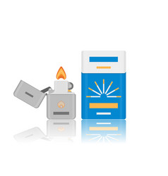 Flat cigarette pack and lighter icon vector